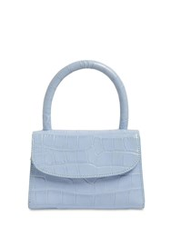 By Far Mini Croc Embossed Leather Bag Sky Blue