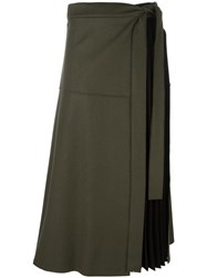 Sportmax Pleated Panel Midi Skirt Green