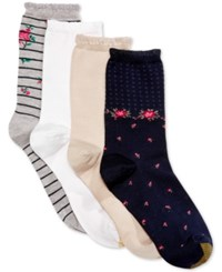Gold Toe Women's 4 Pk. Spring Stripe Floral And Gingham Socks Grey