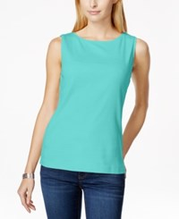 Karen Scott Petite Solid Boat Neck Tank Top Only At Macy's Island Sky