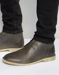 Asos Desert Boots In Grey Leather Grey