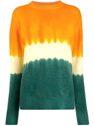 The Elder Statesman Colour Block Cashmere Jumper Orange