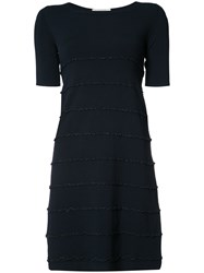 D.Exterior Ruffle Trim Short Dress Blue