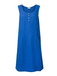 East Linen Pocket Shift Dress Ocean