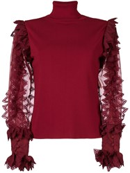 Antonio Berardi Sheer Contrast Sleeved Top Polyester Rayon Red
