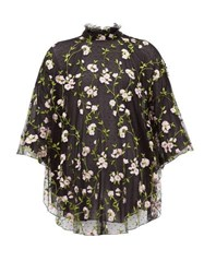 Giambattista Valli Floral Embroidered Tulle High Neck Blouse Black Pink