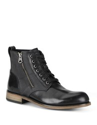 Andrew Marc New York Forest Side Zipper Leather Boots Black