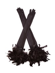 Cornelia James Ophelia Satin Gloves Black