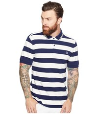 Fred Perry Striped Pique Shirt French Navy Men's Clothing