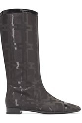 Roger Vivier Patent Leather Trimmed Jacquard Knee Boots Black