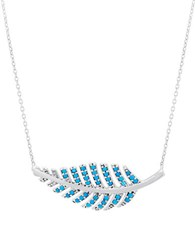 Lord And Taylor Turquoise And Sterling Silver Leaf Pendant