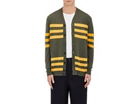 Marni Men's Striped Cotton V Neck Cardigan Dark Green Yellow