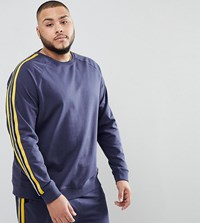 Only And Sons Plus Sweatshirt With Track Stripe Mood Indigo Navy