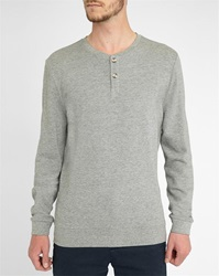 M.Studio Adrien Marled Grey Cotton Sweater With Tunisian Style Neck