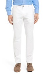 Boss Men's Stanino Flat Front Solid Stretch Cotton Trousers White