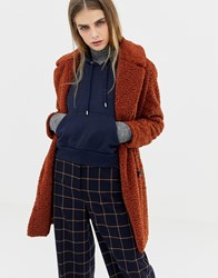 Pull And Bear Pullandbear Borg Teddy Coat In Rust Red