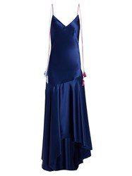 Anna October Tassel Tie Asymmetric Satin Midi Dress Navy