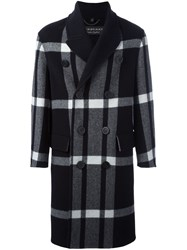Burberry Runway Double Breasted Check Coat Black