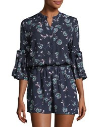 Collective Concepts 3 4 Sleeve Floral Print Romper Navy
