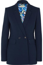 Emilio Pucci Double Breasted Wool Blend Blazer Navy