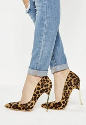 Missguided Brown Animal Print Pointed Toe Court Shoes