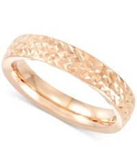 Macy's Textured Band In 14K Rose Yellow Or White Gold Made In Italy Rose Gold