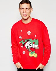 Asos Oversized Sweatshirt With Christmas Mickey Mouse Print Red