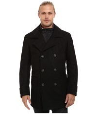 Marc New York Mulberry Pressed Wool Peacoat W Removable Quilted Bib Black Men's Coat