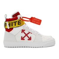 Off White And Red Industrial High Top Sneakers