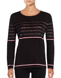 Karl Lagerfeld Lace Accented Top Black Pink