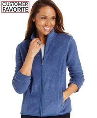 Karen Scott Petite Zip Front Fleece Active Jacket Heather Indigo