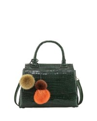 Nancy Gonzalez Sophie Small Crocodile Pompom Satchel Bag Green