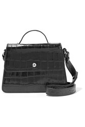 Elizabeth And James Eloise Mini Croc Effect Leather Shoulder Bag Black