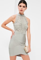 Missguided Grey Bandage And Lace Bodycon Dress