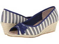 Fitzwell Regina Natural Blue Fabric Stripe Women's Shoes Multi