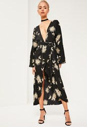 Missguided Black Floral Printed Silky Kimono Maxi Dress