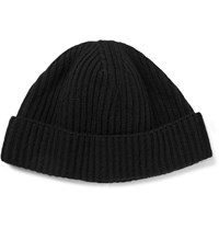 Lanvin Ribbed Wool Beanie Black