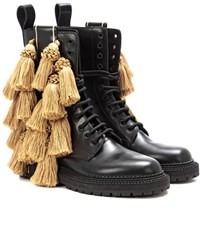 Burberry Aster Tassel Embellished Leather Boots Black