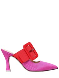Attico 100Mm Chloe Buckled Grosgrain Mules Fuchsia Orange