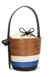 Cesta Collective Lunchpail Leather Trimmed Woven Sisal Bucket Bag Tan