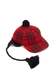 Gucci Peruviano Tartan Ear Flap Tasselled Cap Red