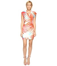 Just Cavalli Palm Print Fitted Short Sleeve Dress Fire Variant
