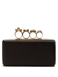 Alexander Mcqueen Jewel Rings Satin Knuckle Clutch Black
