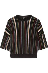 Adam By Adam Lippes Striped Open Knit Cotton Blend Top Black