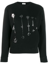 Saint Laurent Palm Tree Print Sweatshirt Black