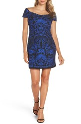 Foxiedox Betina Embroidered Body Con Dress Black Cobalt