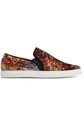 Tabitha Simmons Huntington Suede Trimmed Printed Velvet Slip On Sneakers Multi