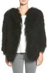 Women's Pam And Gela 'Mongolian' Genuine Shearling Coat Black