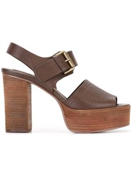See By Chloe Stacked Platform Sole Sandals Brown