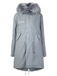 Mr And Mrs Italy Fur Collar Parka Grey